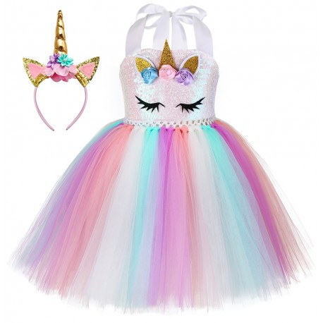 Feeyakie Unicorn costume for girls pink color
